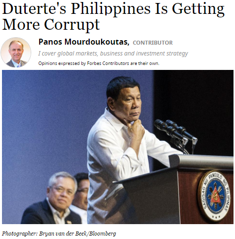 Reaction to Forbes Article: Duterte's Philippines Is Getting More Corrupt