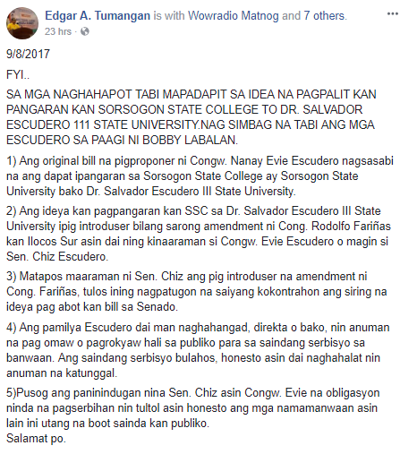Reaction to Escudero's claim that they knew nothing about HB changing SSC to Dr. Salvador Escudero III State University